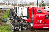 Trucks at a truck stop near the Port of Tacoma, Washington State, USA.