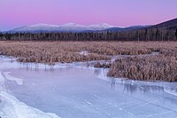 Snowcapped Presidential Range at sunset from the Presidential Range Rail Trail (Cohos Trail) at Pondicherry Wildlife Refuge in Jefferson, New Hampshir...