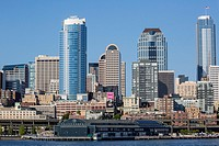 A view from Puget Sound of the downtown area of the seaport city of Seattle, King County, Washington, USA.