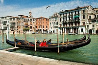 Moored gondolas on Canal Grande in Venice, Italy