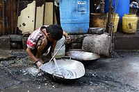India, 18 February 2016. A child labour work in street shop in Kolkata, Photo by Palash Khan.