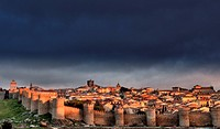 City Walls and Medieval Cathedral viewed from Los Cuatro Postes, Avila, Castile and Leon, Spain. UNESCO World Heritage Site.