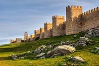 Puerta del Carmen Gate and  Medieval City Walls, Avila, Castile and Leon, Spain. UNESCO World Heritage Site.