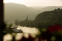 Rhine River view from a room at the Best Western Bellevue Rheinhotel hotel in Boppard. Boppard, Rhineland Palatinate, Germany, Europe.