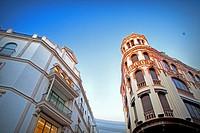 Buildings on Tetuan street, Seville city center, Spain.