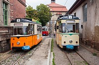 Vintage trolleys / streetcars / tram cars in Naumburg (Saale), Saxony-Anhalt, Germany.