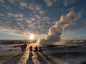 Iceland Geysir Eruption.