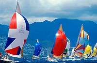 Yacht racing off Waikiki and Diamond Head Kenwood Cup Honolulu Hawaii USA.