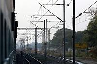 India 12 February 2016. Railway tracks and overhead electric polesin Ajmer.