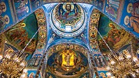 Detail of the Ceiling. Church of the Savior on Spilled Blood. St. Petersburg. Russia.