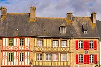 half timbered houses, old town, Treguier, Cotes d´Armor, 22, Brittany, France