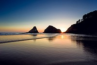 Heceta Head Beach located on the beautiful Oregon Coast at sunset on a clear Summer evening near dusk.
