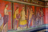 Roman frescoes at Villa of the Mysteries, Pompeii the ancient Roman town near Naples, Campania, Italy, Europe