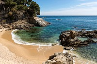 El Paller beach, walking path from Platja d´Aro to Palamós, Calonge, Costa Brava, Baix Empordà, Costa Brava, Catalonia.