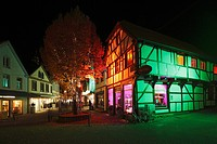 "Germany, Recklinghausen, Ruhr area, Westphalia, North Rhine-Westphalia, NRW, """"Recklinghausen leuchtet"""", festival illumination in the historic downto..."