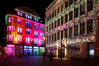 "D-Recklinghausen, Ruhr area, Westphalia, North Rhine-Westphalia, NRW, """"Recklinghausen leuchtet"""", festival illumination in the historic downtown, dep..."