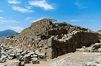 Caral ( 2600 BCE and 2000 BCE) the most ancient city of the Americas. Supe valley. Peru. UNESCO World Heritage.