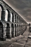 Aqueduct of Segovia Azoguejo Square at dawn north-south view black and white