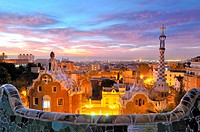 Parc Güell. Garden complex with architectural elements situated on the hill of el Carmel. Designed by the Catalan architect Antoni Gaudí and built in ...
