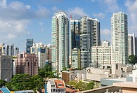 Cityscape of Singapore City skyline looking SE of Orchard Rd, Singapore.