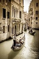 Gondolas on a busy canal, Venice, Veneto, Italy.