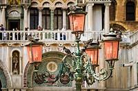 Street lamp at Basilica San Marco (Saint Mark´s Cathedral), Venice, Veneto, Italy.