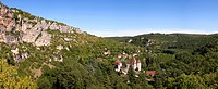 Picturesque rural valley and a small chateau at Sauliac Sur Cele, Lot, France.