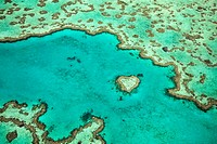 View of Heart Reef, a unique coral formation located in the Great Barrier Reef, Queensland, Australia.