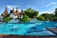 Gorgeous swimming pool at the opulent Dhara Dhevi, Chiang Mai, Thailand.