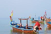 Thai fishing boats at Kata Beach, Phuket.