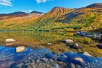 Austerfjorden near Revsves on island Hinnøya in northern Norway on a fine autumn day.