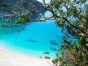 Lefkada Island, Ionian Sea, Greece, Agiofili Beach near Vasiliki, panoramic view.