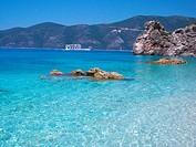 Lefkada Island, Ionian Sea, Greece, the sea at Agiofili Beach near Vasiliki, panoramic view.