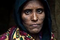Female Erythrean refugee. Berahile ( Afar state, Ethiopia). She belongs to the Afar tribe.