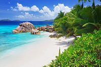 Typical granite rock formations of Anse Patates Beach, La Digue Island, Seychelles, Indian Ocean, Africa.