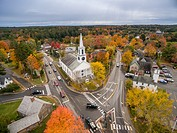 Aerial view of the town of Wiscasset, Maine.