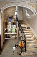 UK property developers workmen working on refurbishment of old house. For Editorial Use Only.