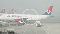 Zurich, Switzerland - 9 October 2014: AirSerbia aircraft at international airport in Zurich, Switzerland.