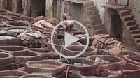 Fes, Morocco - 18 July 2014: Chouara traditional leather tannery in Fes, Morocco.