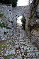 The Roman gate on Via Clodia, Saturnia, Maremma, Grosseto, Tuscany, Italy