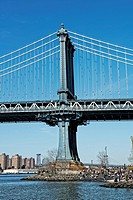 Partial View of the Manhattan Bridge, looking north from Dumbo Brooklyn, New York, USA.