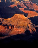 USA, Arizona, Grand Canyon National Park, South Rim, Sandstone buttes below Hopi Point redden at sunset.