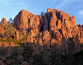 USA, California, Pinnacles National Park, Sunrise highlights spires and crags in the High Peaks Area which are part of the remains of an ancient volca...