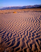 USA, California, Death Valley National Park, Textures in sand dunes at Mesquite Flats with Grapevine Mountains in the distance.