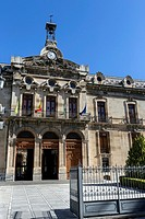 Palace of the County council of Jaen, the neoclassical facade is the work of Jorge Porrua y Moreno in the year 1867, located near the Cathedral of Jae...