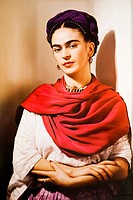 Portrait of Frida Kahlo. Frida Kahlo museum, Coyoacan, Mexico City, North America.