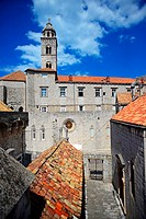 View of the Old Town from the walls of Dubrovnik with tower of Dominican Monastery, Croatia.