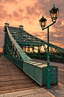 The world-famous Blaues Wunder Bridge over the Elbe river in Dresden, Saxony, Germany.