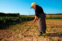 A typical farmer woman, payesa, in La Mola. Formentera (Balearic Islands).