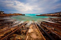 The pier of Es Caló de Sant Agustí. Formentera (Balearic Islands).